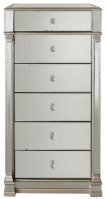 Killona Champagne Gold Mirrored 6 Drawer Tall Chest