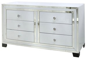 Montague White Glass 6 Drawer Chest