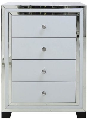 Montague White Glass 4 Drawer Bedside Cabinet