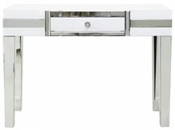 Montague White Glass 1 Drawer Console Table