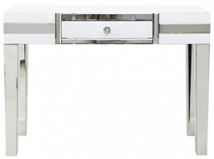 Montague White Mirrored 1 Drawer Console Table