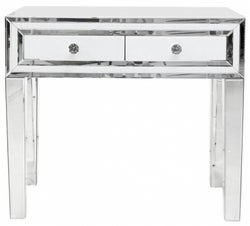 Montague White Glass 2 Drawer Console Table