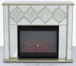 Morocco Champagne Mirrored Fire Surround with Electric Fire