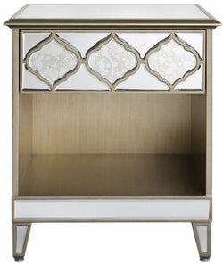 Morocco Champagne Mirrored Bedside Cabinet