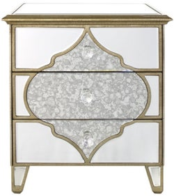 Morocco Champagne Mirrored Compact Bedside Cabinet
