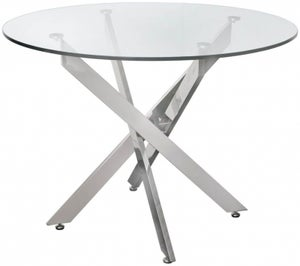 Nanty Glass and Chrome Round Dining Table