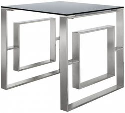 Platini Glass and Chrome Square End Table