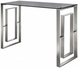 Platini Glass and Chrome Console Table