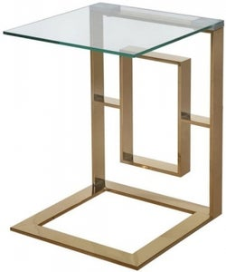 Platini Glass and Gold Square Sofa Table
