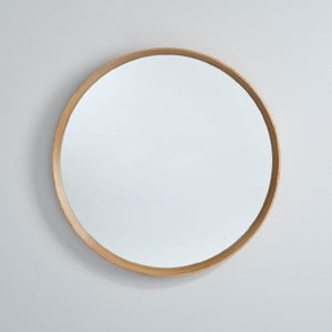 Deknudt Solid Oak Round Wall Mirror
