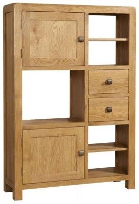 Avon Oak 2 Door 2 Drawer High Display Cabinet