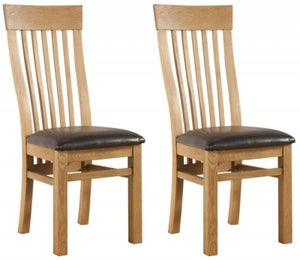 Avon Oak Curved Back Dining Chair (Pair)