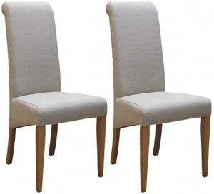 New Oak Beige Fabric Dining Chair (Pair)