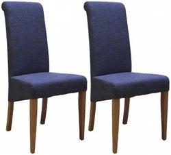 New Oak Blue Fabric Dining Chair (Pair)