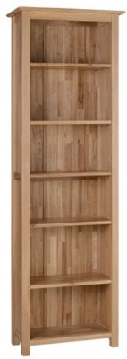 New Oak Narrow High Bookcase