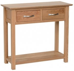 New Oak 2 Drawer Console Table