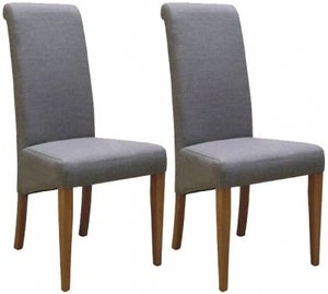 New Oak Light Grey Fabric Dining Chair (Pair)