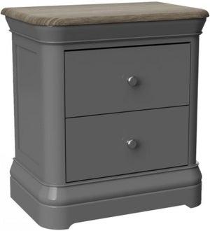 Pebble Slate Grey Painted 2 Drawer Bedside Cabinet