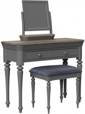 Pebble Slate Grey Painted Dressing Table Set