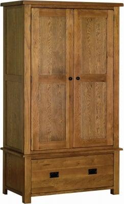 Rustic Oak 2 Door Gents Wardrobe