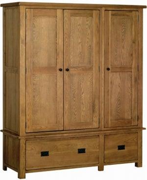Rustic Oak 3 Door Triple Wardrobe