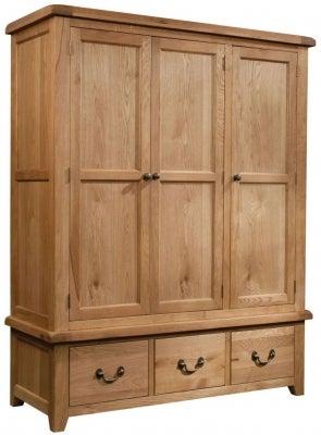 Somerset Oak 3 Door Triple Wardrobe
