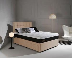 Dormeo Octaspring Tiffany Brown Sugar Fabric Divan Bed with Hybrid Plus Mattress