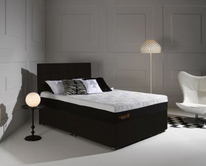 Dormeo Octaspring Tiffany Midnight Black Fabric Divan Bed with Hybrid Plus Mattress