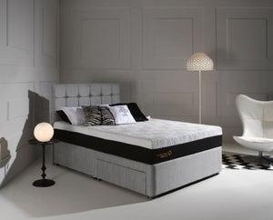 Dormeo Octaspring Tiffany Silver Mist Fabric Divan Bed with Hybrid Plus Mattress