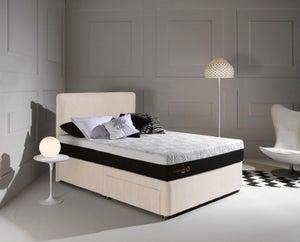 Dormeo Octaspring Tiffany White Sand Fabric Divan Bed with Hybrid Mattress