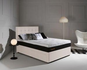 Dormeo Octaspring Tiffany White Sand Fabric Divan Bed with Hybrid Plus Mattress