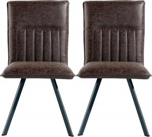Brown Faux Leather Dining Chair (Pair)