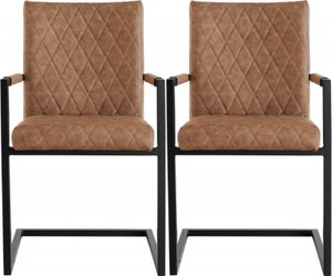 Diamond Stitch Carver Tan Faux Leather Dining Chair (Pair)