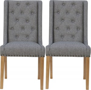 Button Back Light Grey Fabric Dining Chair (Pair)