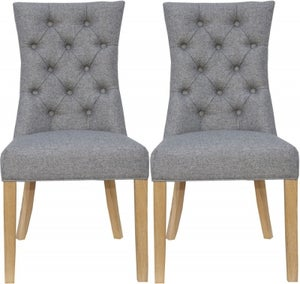Light Grey Fabric Curved Button Back Dining Chair (Pair)