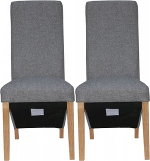 Light Grey Fabric Wave Back Fabric Chair (Pair)
