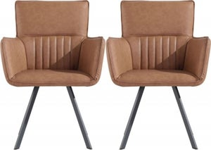 Clearance - Cary Tan Faux Leather Dining Chair (Pair) - New - FSS9136