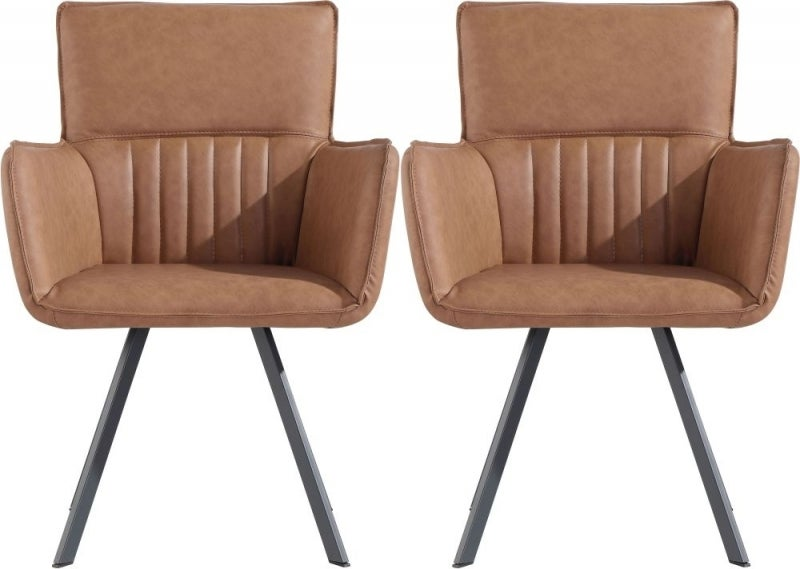 Clearance - Cary Tan Faux Leather Dining Chair (Pair) - New - FSS9134