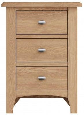 Eva Light Oak 3 Drawer Bedside Cabinet