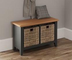 Graceton Oak and Grey Painted Hal Bench