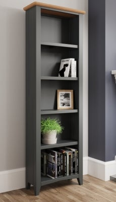 Graceton Oak and Grey Painted Tall Bookcase