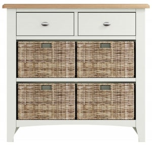 Graceton Oak and White Painted 2 Drawer 4 Basket Unit