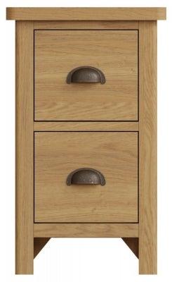 Hampton Rustic Oak 2 Drawer Bedside Cabinet