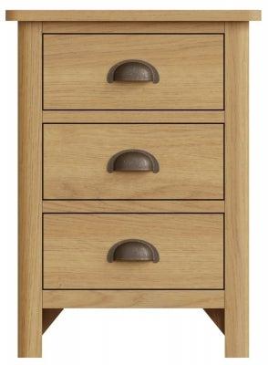 Hampton Rustic Oak 3 Drawer Bedside Cabinet