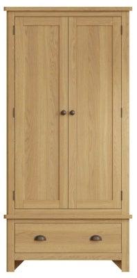 Hampton Rustic Oak 2 Door 1 Drawer Wardrobe
