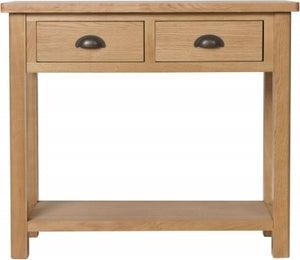 Hampton Rustic Oak 2 Drawer Console Table