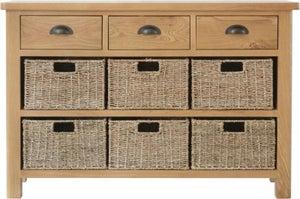 Hampton Rustic Oak 3 Drawer 6 Basket Unit
