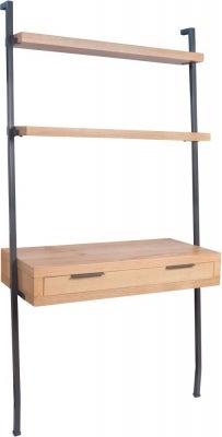 Inkster Industrial Oak and Metal Desk Bookcase