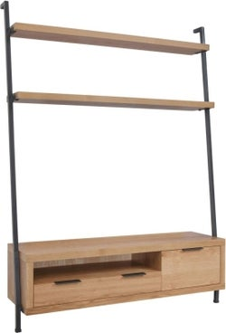 Inkster Industrial Oak and Metal TV Unit Bookcase