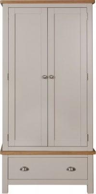 Portland Oak and Dove Grey Painted 2 Door 1 Drawer Wardrobe